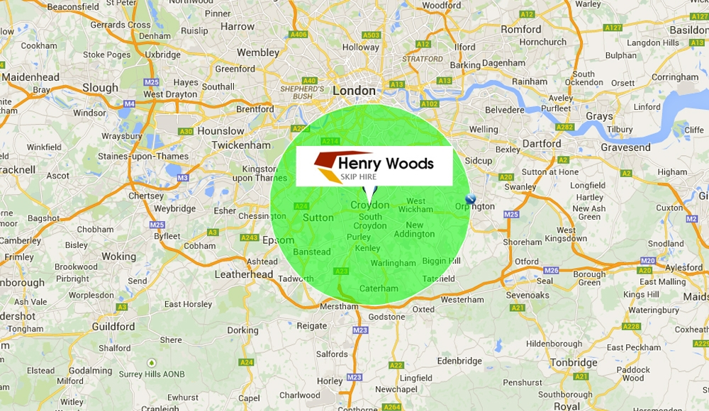 Service Areas of Henry Woods Skip Hire